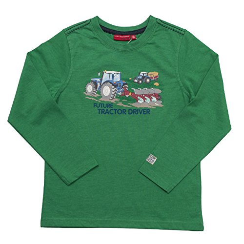SALT AND PEPPER Jungen Langarmshirt Longsleeve Farmer Print, Gr�n (Green Melange 663), 104 (Herstellergr��e: 104/110)