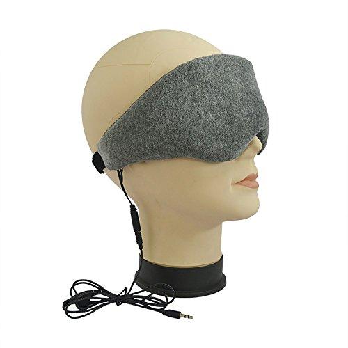 DOLIROX Wired Velvet mit Memory-Foam-Sleeping-Augen-Flecken Musik Auge Auge Maske tragen, mit eingebetteten Mini-Lautsprecher Schlafen Kopfh�rer mit Ger�uschunterdr�ckung -2015 Aktualisierte Version Perfekt f�r Side Sleeper (Wired Grau)