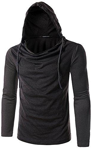 Whatlees Herren regular fit leicht Langarme Kapuzenpullover aus weicher Sweatstoff B093-DarkGrey-L