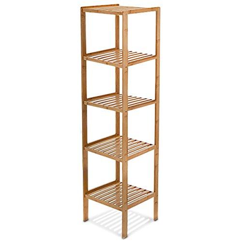Relaxdays Badregal Bambus HBT: 140 x 34 x 34 cm Schickes Bambusregal mit 5 Ablagen aus nat�rlichem Holz Standregal als K�chenregal oder Holzregal zur Aufbewahrung und Lagerung im Badezimmer, natur