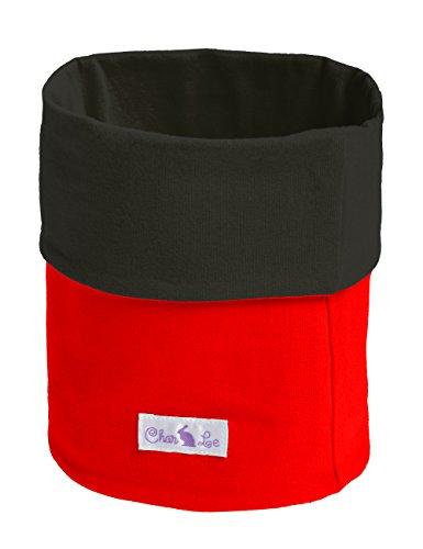 CharLe Kinder Schal und Kopftuch zum Wenden - Innen anthrazit - Aussen rot
