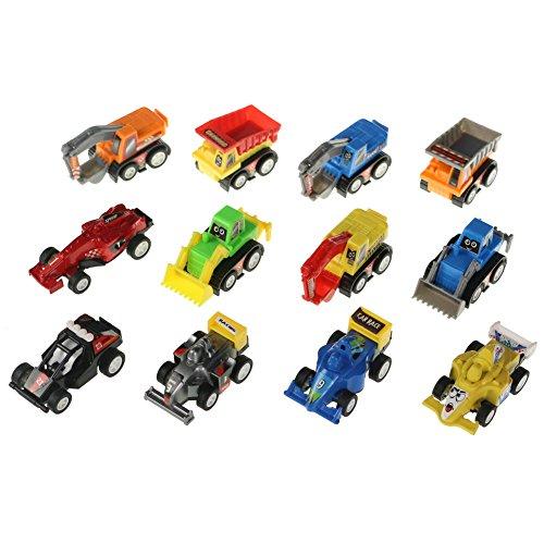 12 St�ck Mini Spielzeugautos Fahrzeuge Modell Lkw Bagger Bulldozer Rennwagen Spielen f�r Kinder (Farbe Variieren)