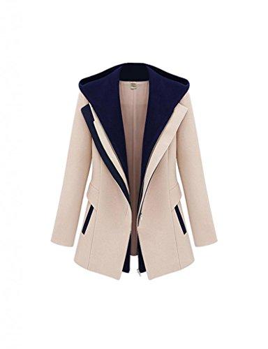 Damen Herbst Blazer elegant Schlank Mantel Jacke mit Rei�verschluss Kapuze DR0613 Khaki Gr.M