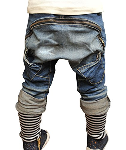 Lymanchi Kinder Jungen Jeans Zipper mit Stripe Big Pocket Fashion Jeans Blau 110/4 Jahre
