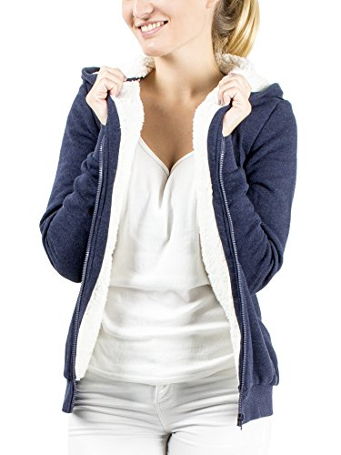 Damen Kapuzenpullover Hoodie Sweatjacke Kapuzenjacke Zipjacke Pullover Jacke mit Kapuze �bergangsjacke Sweatshirt Pulli Sherpa Fleece gef�ttert Teddyfutter warm kuschelig weich flauschig blau Top-Qualit�t und Tragekomfort Gr��e M