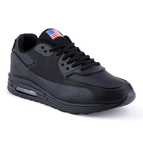 Herren Sportschuhe Sneaker Turn Fitness Freizeit Schuhe Schwarz-7 EU 44