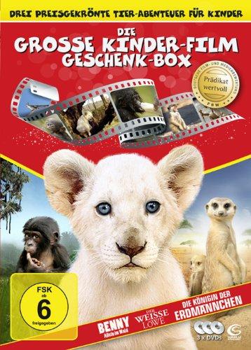 Die gro�e Kinderfilm-Geschenk-Box mit drei preisgekr�nten Tier-Abenteuern: Der wei�e L�we, Benny - Allein im Wald, Die K�nigin der Erdm�nnchen (3 DVDs)