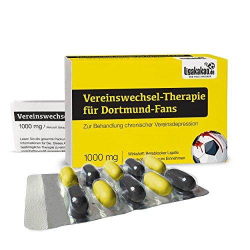 Vereinswechsel-Therapie f�r Dortmund-Fans zur Behandlung chronischer Vereinsdepression - S��e Schmerzmittel f�r Dortmund-Fans! Alle Bayern-, Schalke- und Fu�ball-Fans aufgepasst. Witziges Geschenk f�r Freunde, Kollegen, Geburtstage und Partys zum Verschenken und Vernaschen - Scherzgeschenk, Scherzartikel, Witzgeschenk, Gemeines Geschenk, S��igkeiten, Lakritzst�bchen