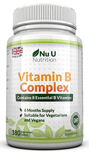 Vitamin B Complex 180 Tabletten - 6 Monatsversorgung - von Nu U Nutrition - enth�lt alle acht B-Vitamine, in 1 Tablette , Vitamine B1, B2, B3, B5 , B6, B12, D- Biotin und Fols�ure