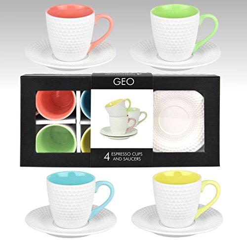 8 tlg. Set Espressotassen mit Untertassen f�r 4 Personen mit h�bschen Sechseck-Reliefmustern und 4 verschiedene Innenfarben