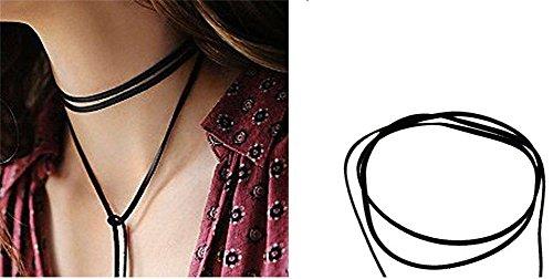 KiwiTwo Fashion Black PU-Leder Lange reizvolle Halskette f�r Damen Damen Halskette Choker Gothic einstellbare Kette aus Nylon und Metalllegierung