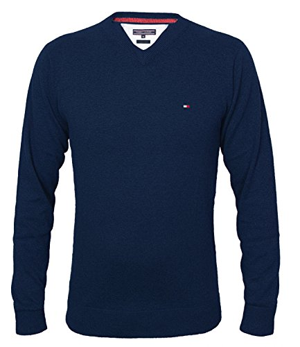 Tommy Hilfiger Herren Vneck Pullover CLASSIC HTR V-NK CF, Farbe:Navy;Gr��e:XL