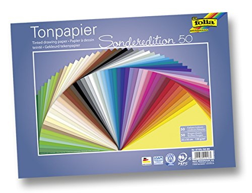 Folia 6725/50 99 - Tonpapier, 130 g/m�, 25 x 35 cm, 50 Blatt, sortiert