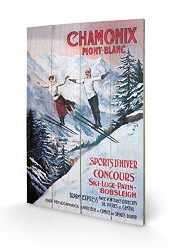 1art1 69505 Skisport - Wintersport In Chamonix Mont Blanc Poster Auf Holz 60 x 40 cm