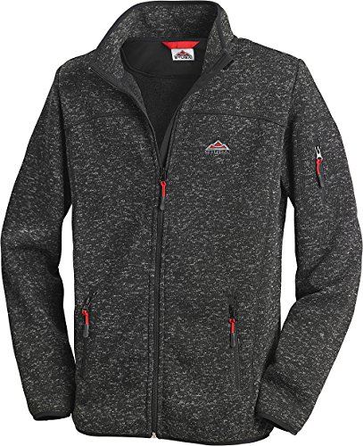 Stubai Strick-Fleecejacke, Strickjacke mit Fleece Innenseite, in Anthrazit f�r Herren bis 3XL