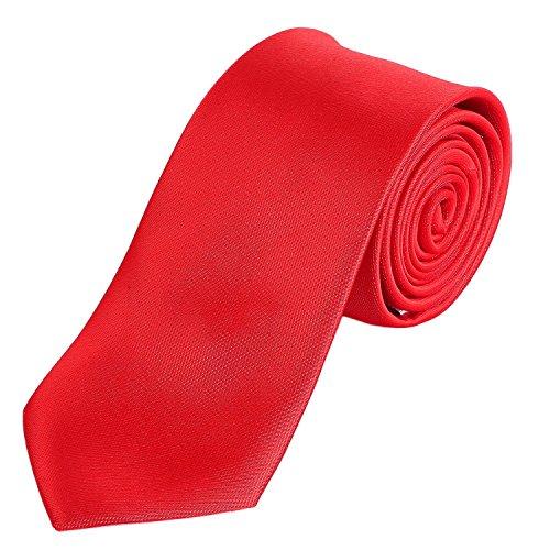 DonDon Herren Krawatte 7 cm klassische handgefertigte Business Krawatte Rot f�r B�ro oder festliche Veranstaltungen