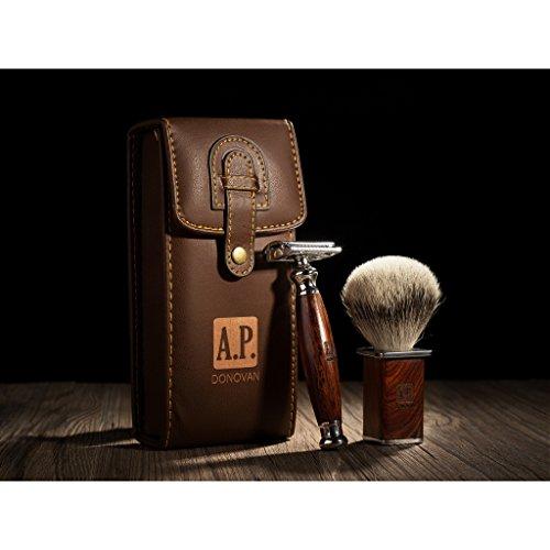 A.P. Donovan - Luxus Rasierhobel im Reise-Etui - mit gr�nem Wacholderholz-Griff, Rasierpinsel aus Silberdachs-Haar, geschlossener Kamm - im Set