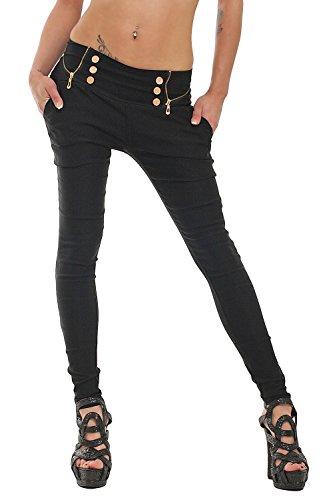 10037 Fashion4Young Damen Treggings Hose aus elastischem Stretch-Material verf�gbar in 5 Gr��en 3 Farben (M = 38, Schwarz)