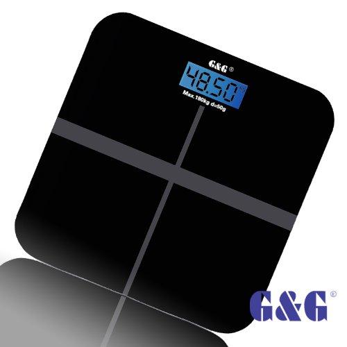 G&G A6 180kg DESIGN Digitalwaage Personenwaage AAA Batteriebetrieb GLAS Scale (Schwarz-Kreuz)