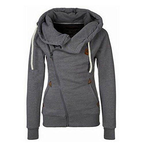 Damen M�dchen Herbst Winter Langarm Kapuzenpullover Hoodie Mantel mit Seitenrei�verschluss (EU38(L), Dunkelgrau)