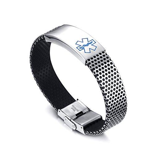 Edelstahl Medical Alert Armband Armreif Armkette Armspange Armschmuck - Blau, 140