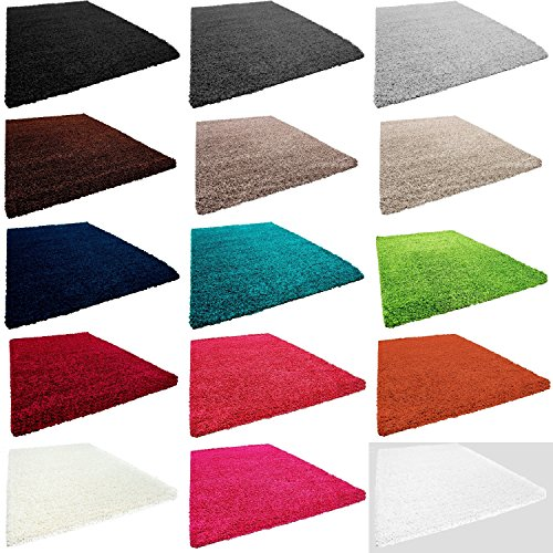 Hochflor Shaggy Teppich Wohnzimmer teppich Langflor einfarbig Teppiche VIVA 153 , Farbe:Weiss;Ma�e:60x100 cm