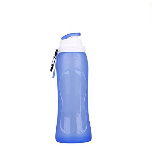 Trinkflasche,Myguru� Faltbare Silikon Wasserflasche 500 ml BPA frei FDA Gepr�ft Sportflasche f�r Outdoor,Sport, Fitness, Reisen, Radfahren, Wandern, Camping und Picknick(blau)