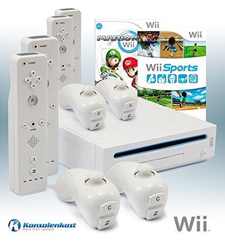 Wii Konsole mit Mario Kart, Wii Sports, 4 Remotes und allem n�tigen Zubeh�r