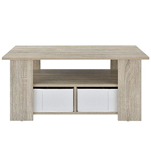 [en.casa] Couchtisch (90 x 50 x 41 cm) furniert (Eiche) Aufbewahrungsboxen (wei� - Leinen Optik) mit Regalfach und Stauboxen