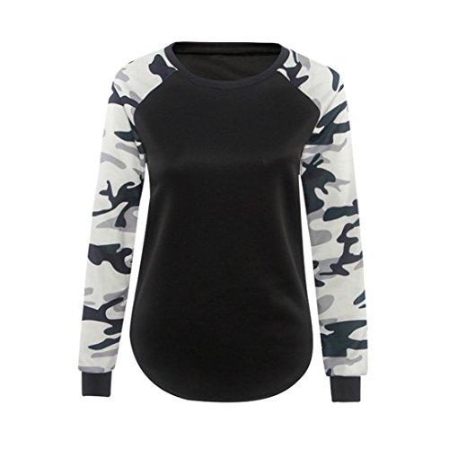 Ularmo Damen Herbst Winter Camouflage Hemd l�ssige Bluse Tops (M, Schwarz)