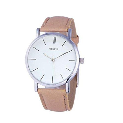 Vovotrade�Unisex casual Faux-Leder-Quarz-analoge Armbanduhr(Khaki)