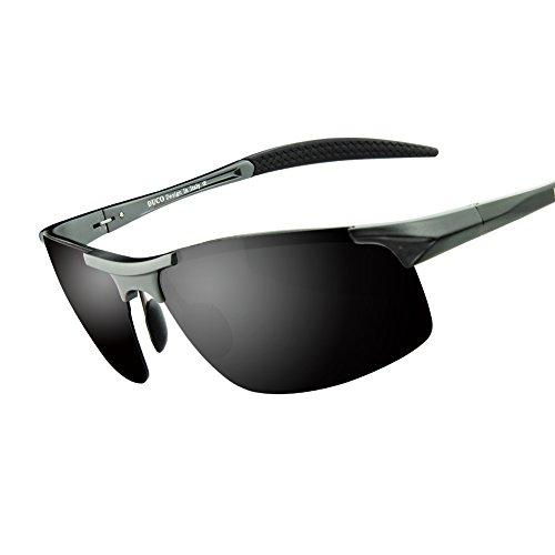 Duco Herren Sport Stil polarisierten Sonnenbrillen Treiber Glasses 8177S (Gunmetal, Grau)
