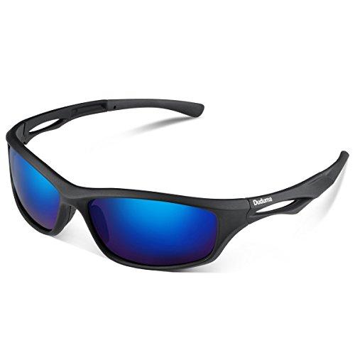 Duduma Polarisierter Sport Herren Sonnenbrille f�r Ski Fahren Golf Laufen Radsport Tr90 Superleichtes Rahmen Design f�r Herren und Damen (Schwarze Matt Rahmen mit Blau Linse)