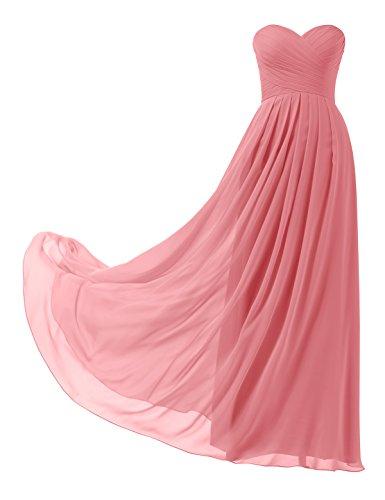 Remedios A-Linie Chiffon Brautjungfernkleider ballkleid Abendkleider Lang, #26 korallenrosa, 38