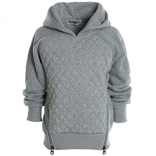 Kinder Pullover Kapuzenpullover Hoodie Jacke Sweatshirt Kapuzen Sweatjacke 20526, Farbe:Grau;Gr��e:140