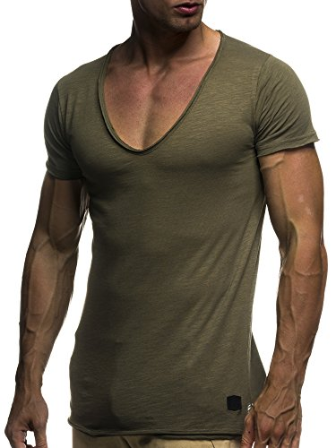 LEIF NELSON Herren oversize T-Shirt tiefer V-Ausschnitt Shirt Basic LN6280; Gr?�e L, Khaki