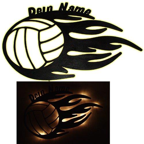 """Schlummerlicht24 Nachtlicht """"Volleyball"""" mit Name nach Wunsch, ideales Geschenk f�r Ballsport-Fans, als Deko-Lampe zum Zimmer versch�nern, handgemacht"""