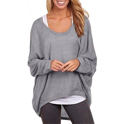 West See Damen Frauen Asymmetrisch Langarm T-shirt Tops Bluse Oberteile Pullover Oversized Baggy (EU M(Herstellergr��er L), Grau)