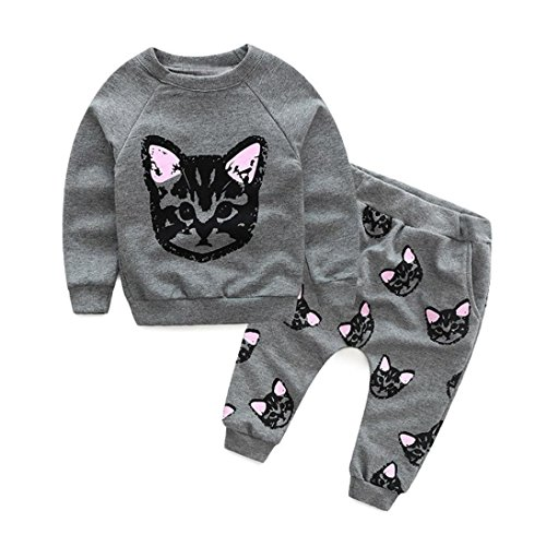F�r 2-6 Jahre alten M�dchen und jungen,Amlaiworld Set Kleidung Langarm Katzen Print Trainingsanzug + Hose Outfits Set (90, gray)