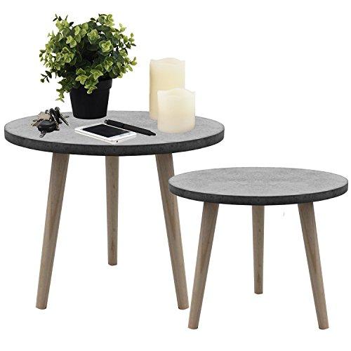 2tlg. Set Beistelltische �39x32cm und �49x42cm Couchtisch Nachttisch Wohnzimmertisch Kaffeetisch Blumentisch aus Holz - Grau/Natur