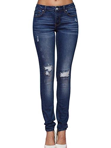 Alice & Elmer Damen Blue Ripped Mid-Rise Skinny Jeans 31W x 30L