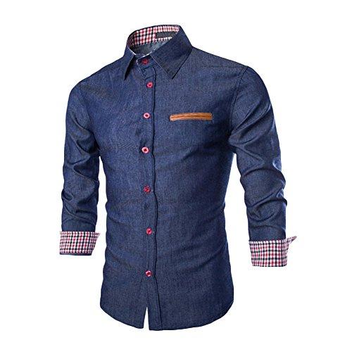 West See Herren M�nner Freizeit Hemd Langarm Shirts Slim Fit Business B�gelleicht (DE M, Dunkelblau)