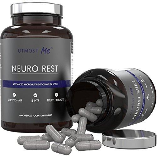 5-HTP, L-Tryptophan, L-Taurin, Kamille, Biotin, Magnesium & Fruchtextrakte | Neuro-Formel - Hoch wirksame nat�rliche Nahrungserg�nzung f�r Ruhe & Erholung | Nie wieder Schlaftabletten, Sedativa & Medikamente | Erprobte Mischung ohne Nebenwirkungen durch hoch dosiertes 5HTP | 100% Geld-zur�ck-Garantie (1x Neuro Rest (30-Tages-Vorrat))