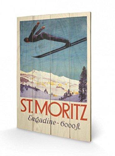 1art1 69508 Skisport - Wintersport In Sankt Moritz Engadin, Retro Poster Auf Holz 60 x 40 cm
