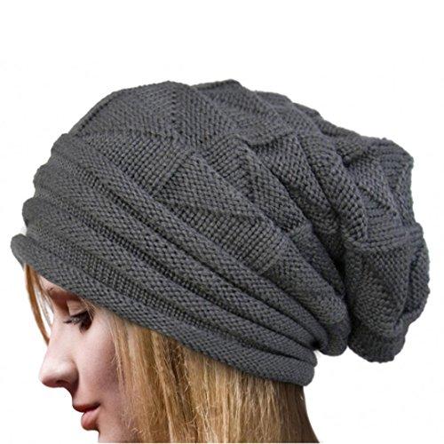 Ularmo Frauen-Winter Crochet Hat Wolle Strickm�tze Warme Kappen (Grau)
