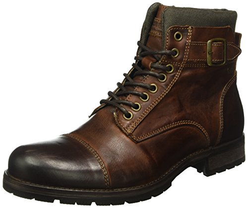 JACK & JONES Herren Jfwalbany Leather Combat Boots, Braun (Brown Stone), 42 EU