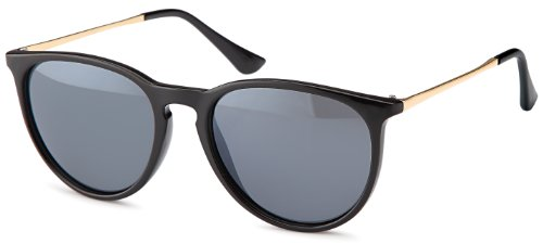 Vintage Sonnenbrille im angesagtem 60er Style mit trendigen bronzefarbenden Metallb�geln Brillentrends (schwarz-ohne-Verlauf)