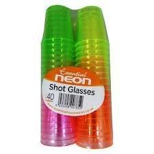 NEU 40 BUNTE NEON Einweg-Kunststoff-SHOT CUPS GL�SER PARTY GREEN PINK ETC