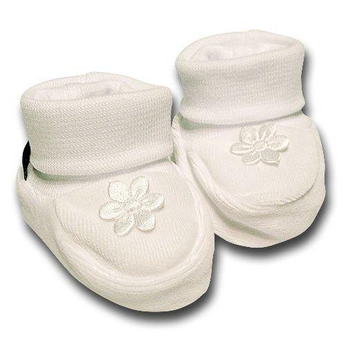 pantau.eu Babyschuhe, Erstlingsschuhe, Babysch�hchen Nicki 0-3 Monate, Wei�, gro�e Blume Wei�