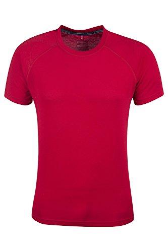 Mountain Warehouse District Herren technisches T-Shirt Base Layer schnell trocknend Funktionsshirt Sports Fitness Laufen Joggen Radfahren Rot Medium